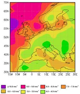 skillnaden i den genomsnittliga vindhastigheten över Europa under 1900-talets senare hälft